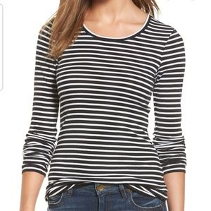 Caslon Boatneck Long Sleeve Top Ruched Sides M